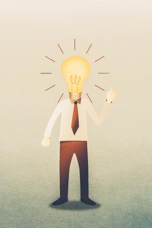 Business man with head  idea lightbulb Stock Photo