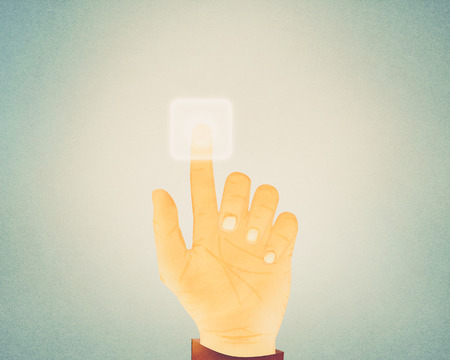 pushing button: Paper texture ,Hand gesture pushing button on touch screen