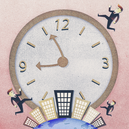conceptual image: Conceptual image - Business man run on building in rush hours