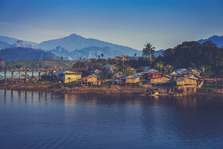 kanchanaburi: The longest wooden bridge and floating Town in Sangklaburi Kanchanaburi Thailand (Vintage filter effect used)