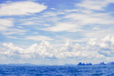 lebanon beach: Beautiful blue sky sea view (Vintage filter effect used)