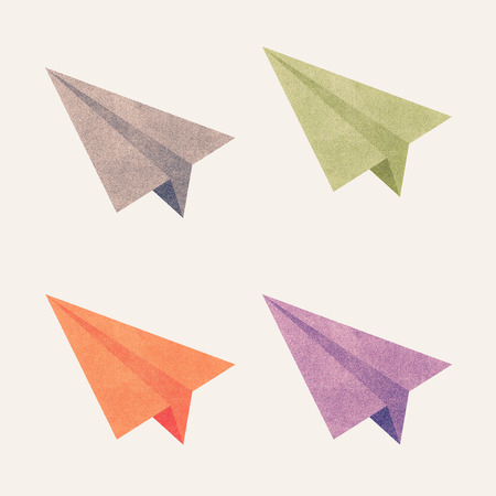 Paper texture,Colorful paper airplanes. Illustration on white background Stock Photo