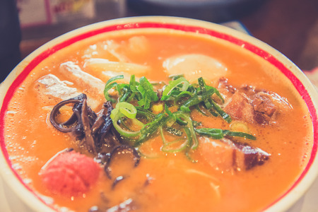 poquito: Miso ramen japonés, que es un poco picante, Japón