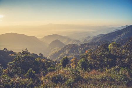faintly visible: view point , doi angkhang , chiangmai , thailand (Vintage filter effect used) Stock Photo