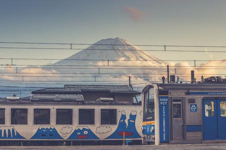 view of mount fuji from kawaguchiko train station in march 2013