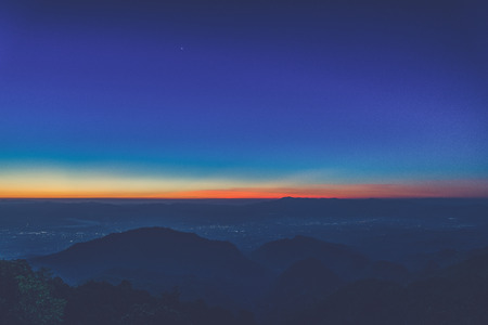 faintly visible: sunrise view point , doi angkhang , chiangmai , thailand (Vintage filter effect used)