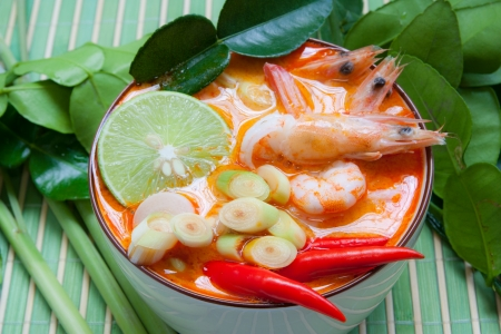 Ingrediënten voor Thaise soep, Tom Yum Goong Stockfoto