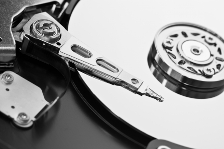 Open hard disk isolated photo