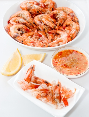 Steamed shrimp dish is beautiful photo