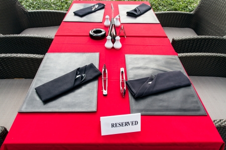 Table setting for romantic dinner or wedding photo