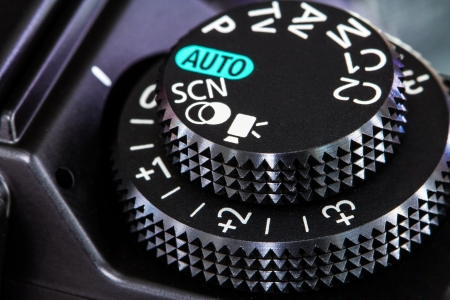 autofocus: Camera mode dial for choosing shooting mode  Auto mode, Program mode, Aperture priority mode, Shutter priority mode, Manual mode, Portrait mode, Sports mode, Landscape mode and Macro mode in vector Stock Photo