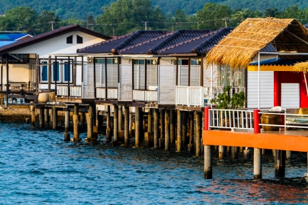 Houses on piles, Koh Larn island, Thailand photo