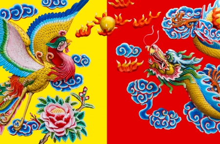 Golden dragon and swan on Chinese temple wall Stock Photo
