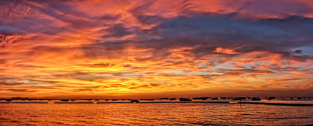 Beautiful panorama seascape sunset over sea