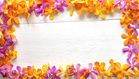 Multicolored orchid flowers placed on a wood floor with an empty space in the middle 스톡 콘텐츠