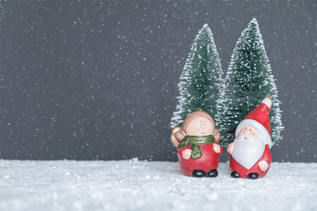 mrs  santa claus: Mr. & Mrs. Santa Claus in the forest to choose the tree