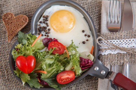 scrambled: Breakfast for a loved one, scrambled eggs with green salad