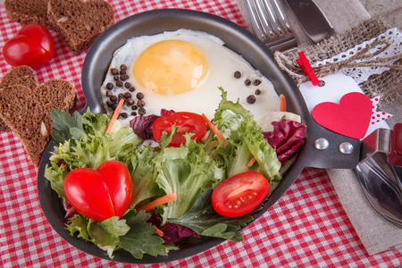 loved: Breakfast for a loved one, scrambled eggs with green salad