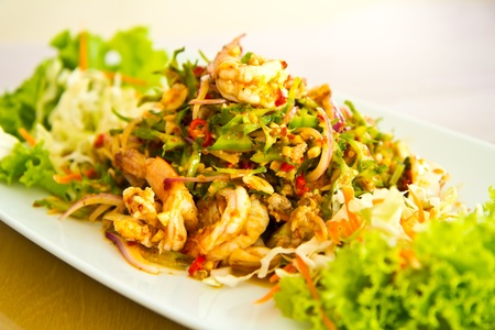 wing bean spicy salad mix with shrimp Stock Photo - 12787416