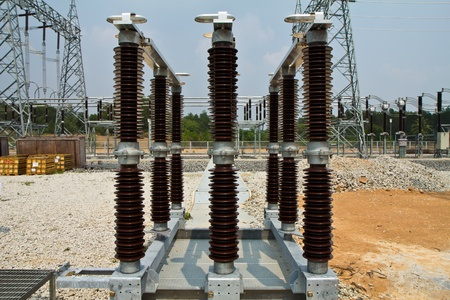 disconnecting: disconnecting switch part of high-voltage substation with switches and