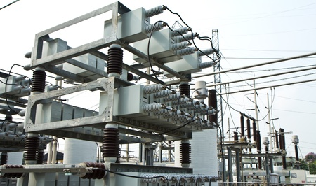 capacitor bank in high voltage substation photo