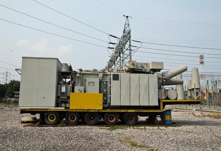 isolator insulator: high voltage transformer mobile in substation