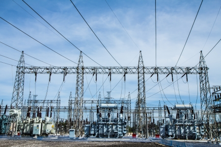 high voltage: High voltage substation Stock Photo