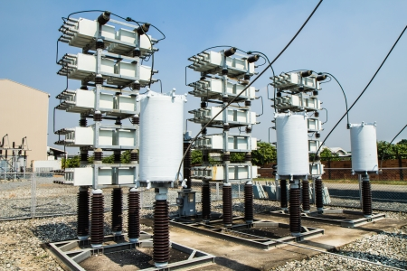 Capacitor bank in high voltage substation Stock Photo - 17225863