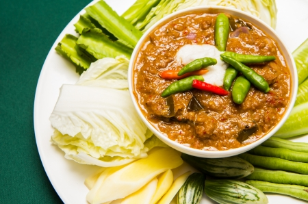 Chili crab stew with fresh vegetable Stock Photo