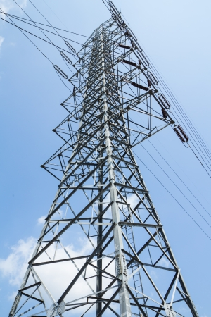 High voltage power transmission tower photo