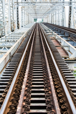 Metal rail road bridge
