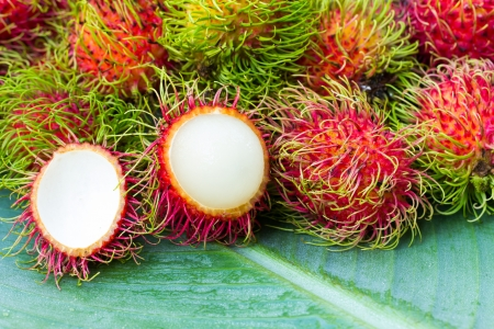 Fresh Rambutan fruits Stock Photo