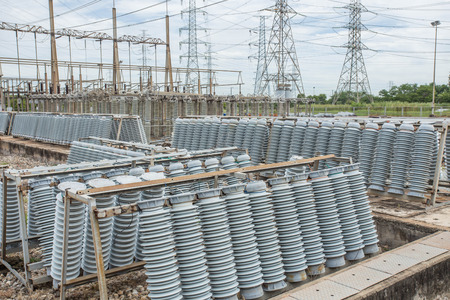 high voltage insulators at new substation Stock Photo
