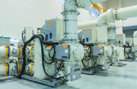 High voltage electric power 500 kV Gas Insulated Switchgear in control building (GIS)