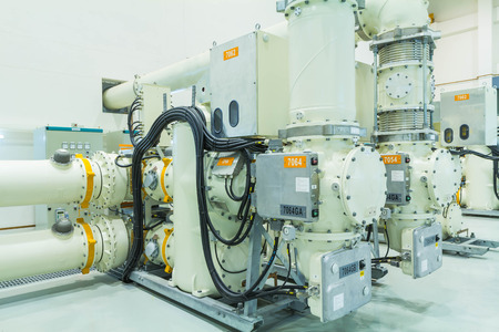 isolator switch: High voltage electric power 500 kV Gas Insulated Switchgear in control building (GIS)