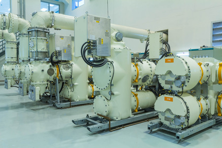 switchgear: High voltage electric power 500 kV Gas Insulated Switchgear in control building (GIS)