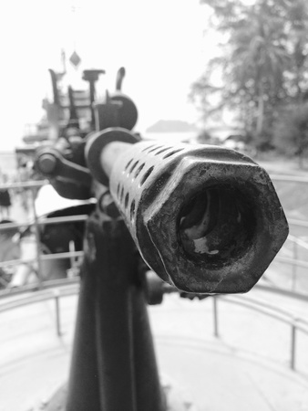 battleship: Vintage machine gun on the battleship