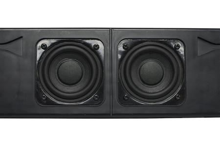 Dual speakers with aircraft black box for the amplifier Stock Photo