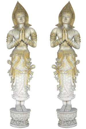 pair angels  sculpture, thai style angel antique sculpture decorate on the white background