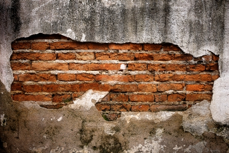 background of brick wall with vintage look and Ancient grunge wall with bricks