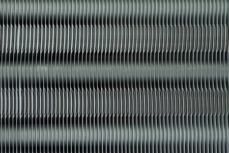 Aluminum fins of heat exchange unit of air conditioner Stock Photo