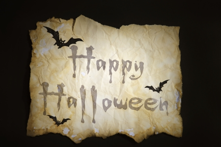 Old paper Halloween with Bat