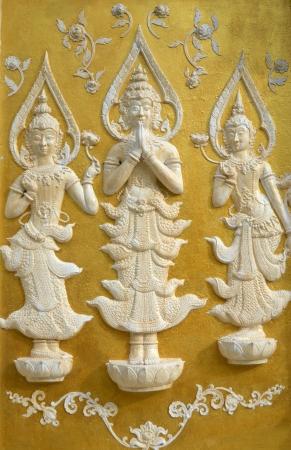juxtaposing: Lanna Buddhist sculptures juxtaposing of northern Thailand.