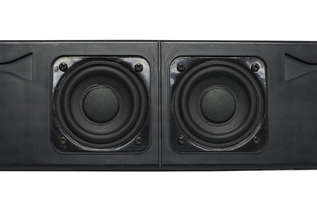 acoustic systems: Dual speakers with aircraft black box for the amplifier Stock Photo