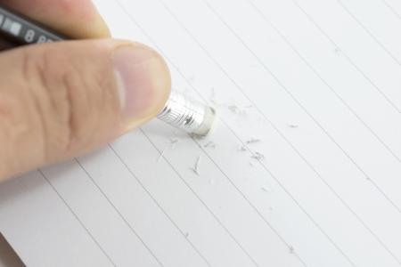 rectify: Notebook correzione Eraser, scritto con una matita.