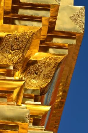 bedeck: Thailand striped gold trim around the pagoda  Wat Phra That Doi Suthep  Chiang Mai, Thailand