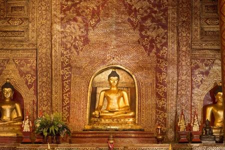 Phra Singh statue of Viharn Lai Kam Wat Phra Singh  of Chiang Mai.