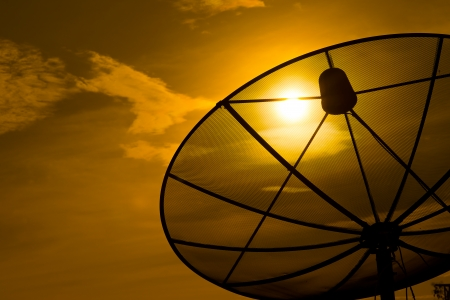 satellite dish on sunset  Stock Photo