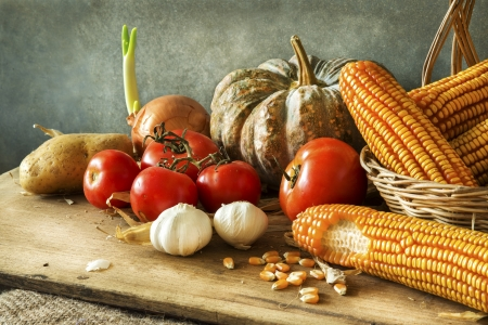 Still Life with pumpkin,corn,tomatoes, garlic, onions and potato in harvest photo