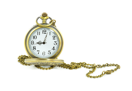 gold watch: old antique pocket watch on white background Stock Photo